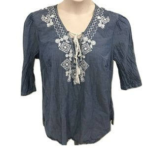 Dress Barn 1X Tunic Top Blue Boho Casual Plus Size